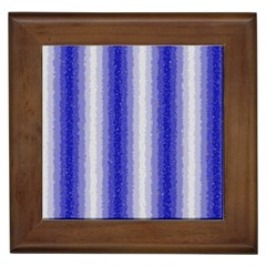 Dark Blue Curly Stripes Framed Ceramic Tile by BestCustomGiftsForYou
