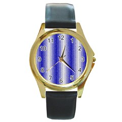 Dark Blue Curly Stripes Round Leather Watch (gold Rim)  by BestCustomGiftsForYou