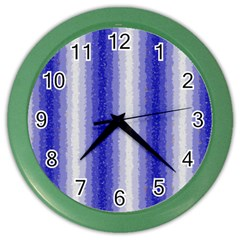 Dark Blue Curly Stripes Wall Clock (color) by BestCustomGiftsForYou