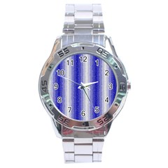 Dark Blue Curly Stripes Stainless Steel Watch by BestCustomGiftsForYou