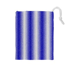 Dark Blue Curly Stripes Drawstring Pouch (large) by BestCustomGiftsForYou