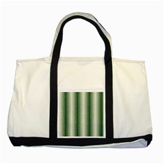Dark Green Curly Stripes Two Toned Tote Bag by BestCustomGiftsForYou