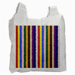 Vivid Colors Curly Stripes   1 White Reusable Bag (one Side) by BestCustomGiftsForYou