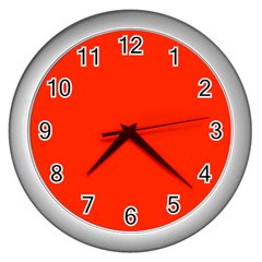 Bright Red Wall Clock (silver)