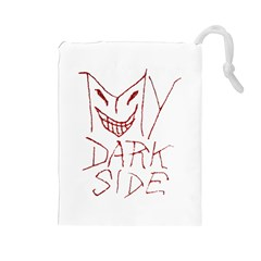 My Dark Side Typographic Design Drawstring Pouch (large) by dflcprints