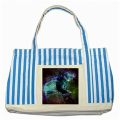 Catch A Falling Star Blue Striped Tote Bag by icarusismartdesigns