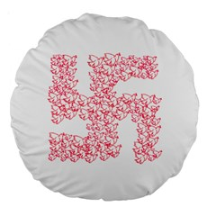 Swastika With Birds Of Peace Symbol 18  Premium Round Cushion  by dflcprints