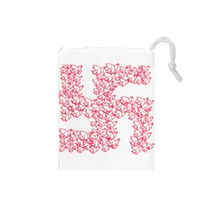 Swastika With Birds Of Peace Symbol Drawstring Pouch (small) by dflcprints