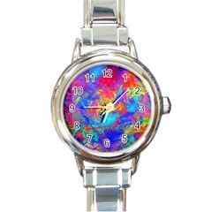 Colour Chaos  Round Italian Charm Watch by icarusismartdesigns
