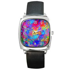 Colour Chaos  Square Leather Watch by icarusismartdesigns