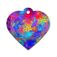 Colour Chaos  Dog Tag Heart (one Sided)  by icarusismartdesigns