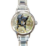 doberman pinscher Round Italian Charm Watch