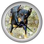 doberman pinscher Wall Clock (Silver)