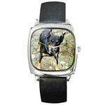 doberman pinscher Square Metal Watch