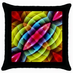 Multicolored Abstract Pattern Print Black Throw Pillow Case by dflcprints