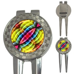 Multicolored Abstract Pattern Print Golf Pitchfork & Ball Marker by dflcprints