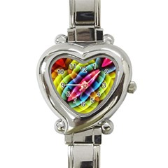 Multicolored Abstract Pattern Print Heart Italian Charm Watch  by dflcprints