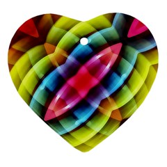 Multicolored Abstract Pattern Print Heart Ornament (two Sides) by dflcprints