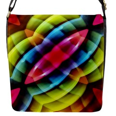 Multicolored Abstract Pattern Print Flap Closure Messenger Bag (small)