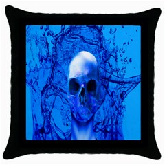 Alien Blue Black Throw Pillow Case by icarusismartdesigns