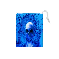 Alien Blue Drawstring Pouch (small) by icarusismartdesigns