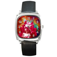 Star Flower Square Leather Watch by icarusismartdesigns