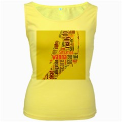 Michael Jackson Typography They Dont Care About Us Women s Tank Top (Yellow) by FlorianRodarte