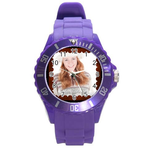 Xmas By May   Round Plastic Sport Watch (l)   Sveqgtk2diqs   Www Artscow Com Front