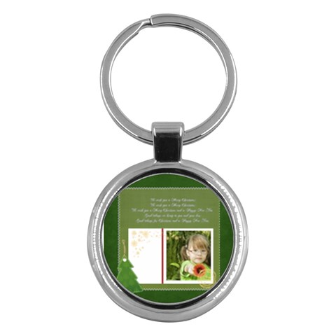 Merry Christmas By Mac Book   Key Chain (round)   Y8pscbfbukh5   Www Artscow Com Front