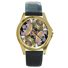 Geometric Grunge Pattern Print Round Leather Watch (gold Rim)  by dflcprints