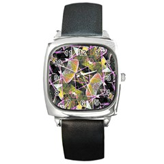 Geometric Grunge Pattern Print Square Leather Watch by dflcprints