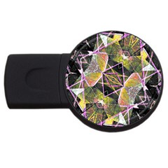 Geometric Grunge Pattern Print 4gb Usb Flash Drive (round) by dflcprints