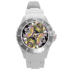 Geometric Grunge Pattern Print Plastic Sport Watch (large) by dflcprints