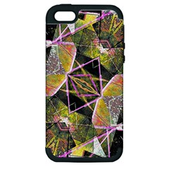 Geometric Grunge Pattern Print Apple Iphone 5 Hardshell Case (pc+silicone) by dflcprints