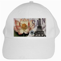 Vintage Paris Eiffel Tower Floral White Baseball Cap by chicelegantboutique