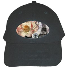 Vintage Paris Eiffel Tower Floral Black Baseball Cap