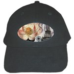 Vintage Paris Eiffel Tower Floral Black Baseball Cap Front