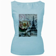 Vintage Paris Eiffel Tower Floral Women s Tank Top (baby Blue)