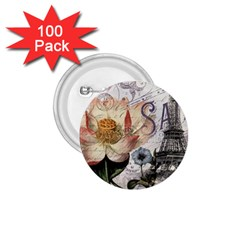 Vintage Paris Eiffel Tower Floral 1 75  Button (100 Pack)