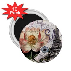Vintage Paris Eiffel Tower Floral 2 25  Button Magnet (10 Pack) by chicelegantboutique