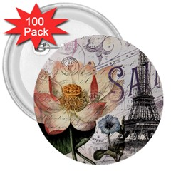 Vintage Paris Eiffel Tower Floral 3  Button (100 Pack) by chicelegantboutique