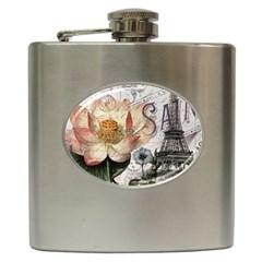Vintage Paris Eiffel Tower Floral Hip Flask by chicelegantboutique