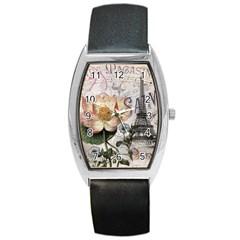 Vintage Paris Eiffel Tower Floral Tonneau Leather Watch by chicelegantboutique