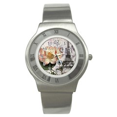 Vintage Paris Eiffel Tower Floral Stainless Steel Watch (slim) by chicelegantboutique