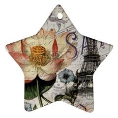 Vintage Paris Eiffel Tower Floral Star Ornament (two Sides) by chicelegantboutique