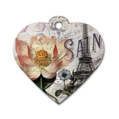 Vintage Paris Eiffel Tower Floral Dog Tag Heart (one Sided)  by chicelegantboutique
