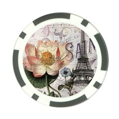Vintage Paris Eiffel Tower Floral Poker Chip by chicelegantboutique
