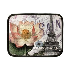 Vintage Paris Eiffel Tower Floral Netbook Sleeve (small) by chicelegantboutique
