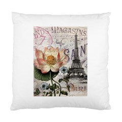 Vintage Paris Eiffel Tower Floral Cushion Case (two Sided)  by chicelegantboutique