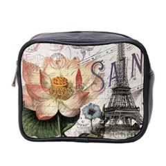 Vintage Paris Eiffel Tower Floral Mini Travel Toiletry Bag (two Sides) by chicelegantboutique